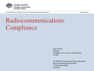 Radiocommunications Compliance