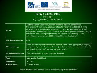 Parky a sídlištní zeleň Přírodopis VY_32_INOVACE_118  - 6. sada,  Př