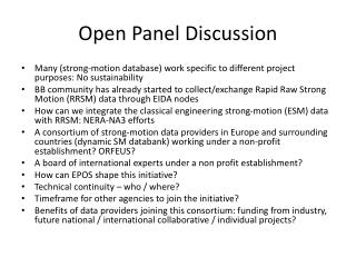 Open Panel Discussion