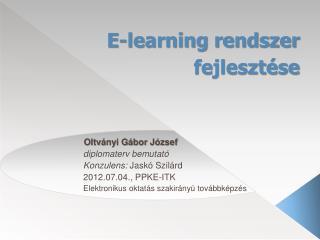 E-learning rendszer fejlesztése