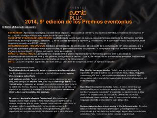 2014, 9ª edición de los Premios  eventoplus