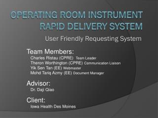 Operating Room Instrument Rapid Delivery System