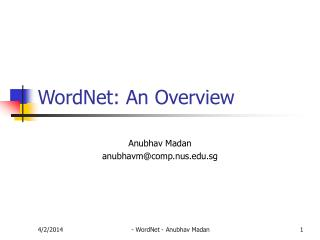 WordNet: An Overview