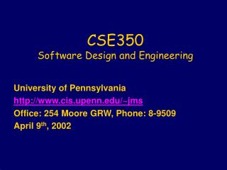 CSE350  Software Design and Engineering