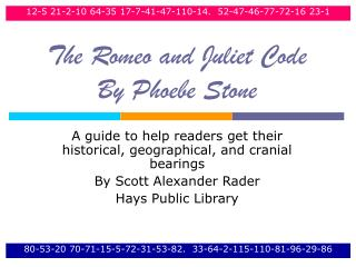 The Romeo and Juliet Code  By Phoebe Stone
