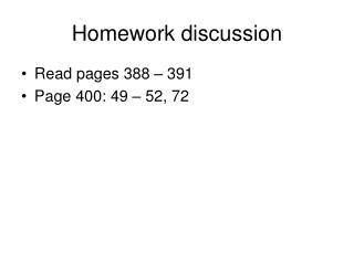 Homework discussion