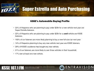 Super Estrella and Auto Purchasing