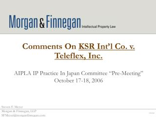 Comments On  KSR Int'l Co. v. Teleflex, Inc.
