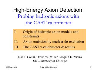 High-Energy Axion Detection:  Probing hadronic axions with  the CAST calorimeter