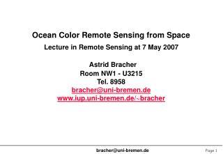Ocean Color Remote Sensing from Space