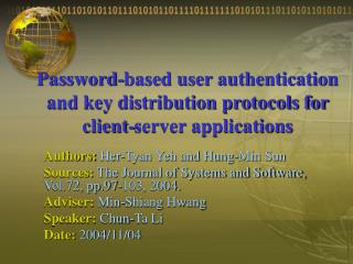 Password-based user authentication and key distribution protocols for client-server applications
