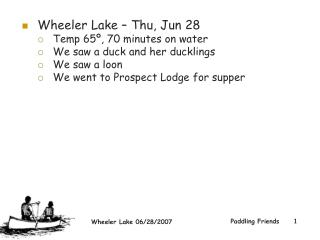 Wheeler Lake – Thu, Jun 28  Temp 65º, 70 minutes on water We saw a duck and her ducklings