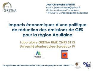 Impacts économiques d'une politique de réduction des émissions de GES pour la région Aquitaine
