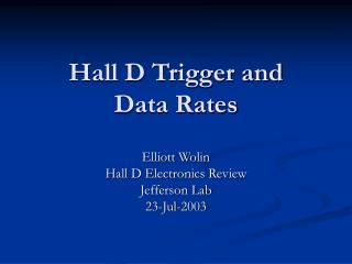 Hall D Trigger and  Data Rates