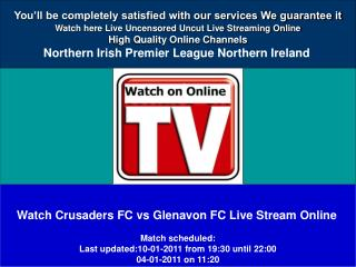 Crusaders FC vs Glenavon FC LIVE STREAM ONLINE HD VIDEO
