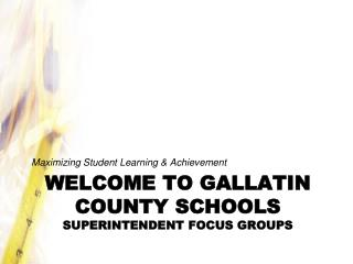Welcome to gallatin county schools Superintendent Focus Groups