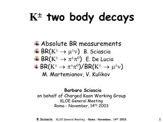 K   two body  decays
