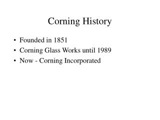 Corning History