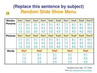 (Replace this sentence by subject) Random Slide Show Menu