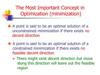 The Most Important Concept in  Optimization (minimization)