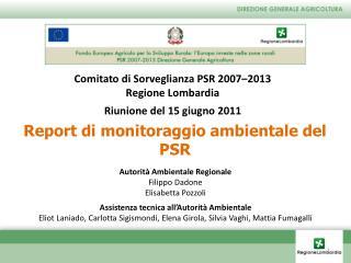 Report di monitoraggio ambientale del PSR
