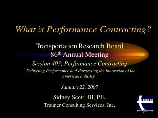 What is Performance Contracting?