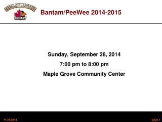 Bantam/PeeWee 2014-2015