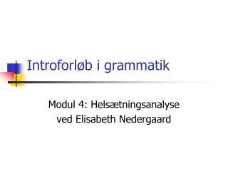 Introforl b i grammatik