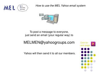 To post a message to everyone,  just send an email (your regular way) to MELMEN@yahoogroups