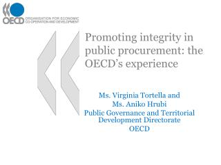 Promoting integrity in public procurement: the OECD s experience