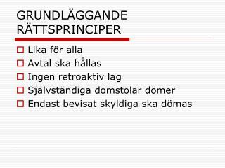 GRUNDLÄGGANDE RÄTTSPRINCIPER