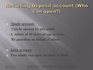Recurring  Deposit account (Who  can  open?)
