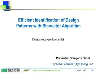 Efficient Identification of Design Patterns with Bit-vector Algorithm