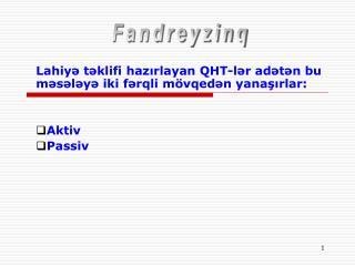 Lahiyə təklifi hazırlayan QHT-lər adətən bu məsələyə iki fərqli mövqedən yanaşırlar: Aktiv Passiv