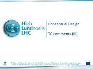 Conceptual Design  TC comments (III)