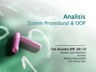 Analisis Sistem Prosedural  & OOP