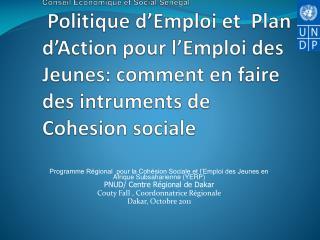 IAG Conseil Economique et Social S n gal  Politique d Emploi et  Plan d Action pour l Emploi des Jeunes: comment en fair
