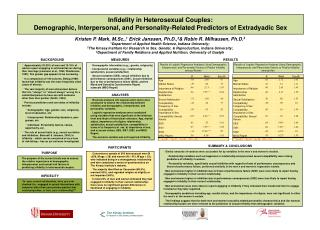 Infidelity in Heterosexual Couples:  Demographic, Interpersonal, and Personality-Related Predictors of Extradyadic Sex