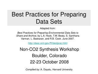 Best Practices for Preparing Data Sets