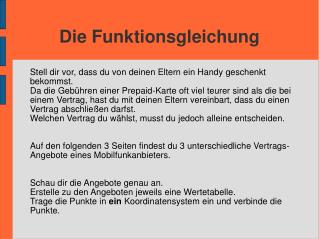 Die Funktionsgleichung
