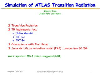 Simulation of ATLAS Transition Radiation