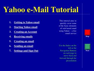 Yahoo e-Mail Tutorial