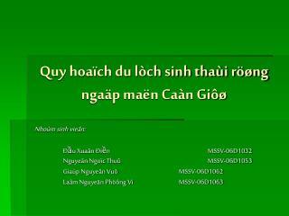 Quy hoaïch du lòch sinh thaùi röøng ngaäp maën Caàn Giôø