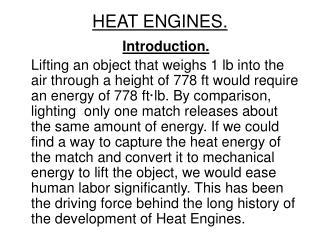 HEAT ENGINES.
