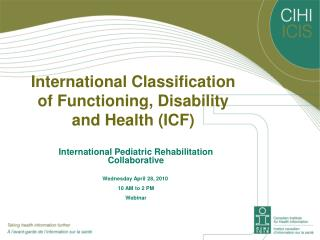 International Classification of Functioning, Disability and Health ICF