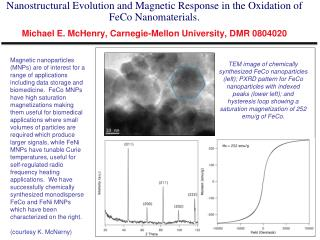 Oxidation of Iron-Cobalt Alloys Michael E. McHenry, Carnegie-Mellon University, DMR 0804020