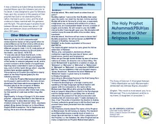 The Holy Prophet Muhammad(PBUH)as Mentioned in Other Religious Books