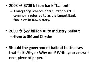 "2008   $700 billion bank ""bailout"""