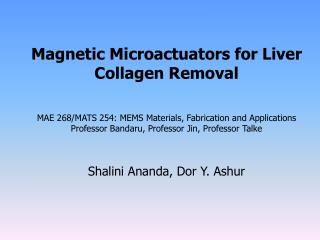 Magnetic Microactuators for Liver Collagen Removal   MAE 268