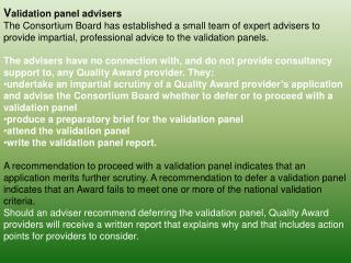 V alidation panel adviser s